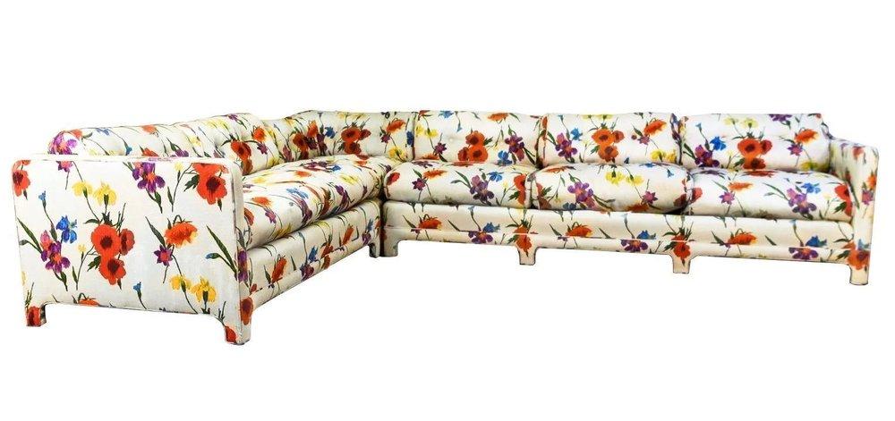 Sensational Poppy and Iris Sectional Sofa, W & J Sloane, New York, c. 1960