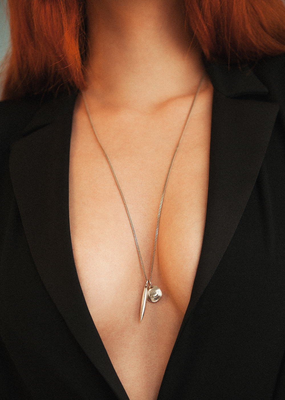Vintage YSL Le Smoking (courtesy of Kristina Hamner); Nikolai Rose 1939 Necklace, Sterling Silver