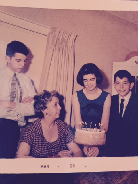 Kergan family photo at their Mother's 1966 birthday celebration: from left, Gary, Mom Grace Harriet Patricia Frances McGraw Kergan, Sister Chery Maxwell and Ted