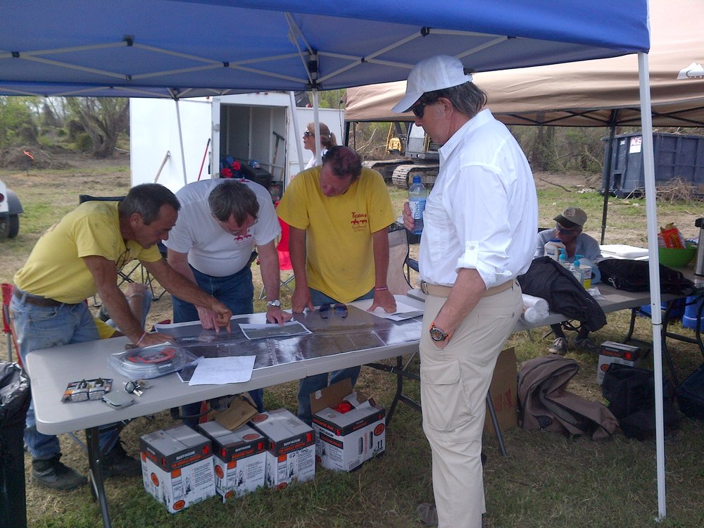 Under one of the tents set up in the March, 2013, Texas Equusearch dig for Gary Kergan's remains. Tim Miller, at left; Ted Kergan, right