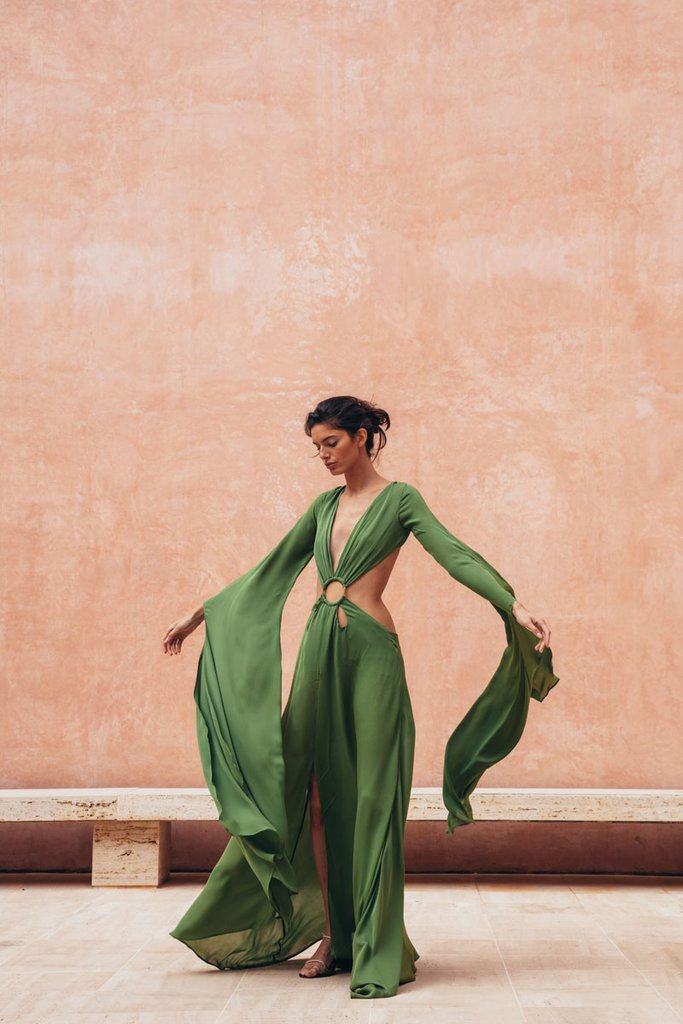 Cult Gaia green satin maxi dress
