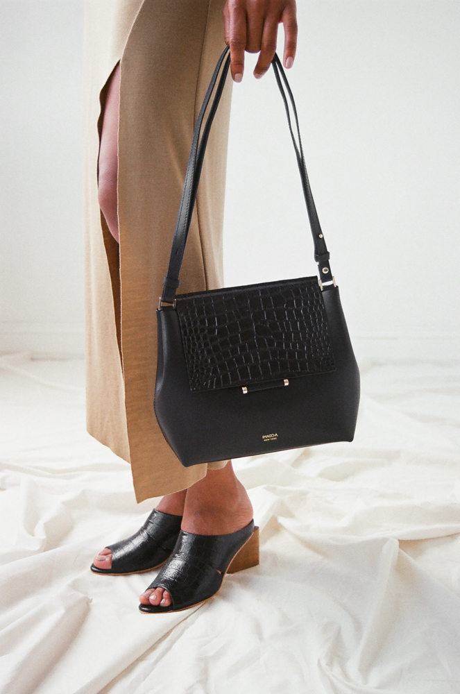 Either And black leather snakeskin bag