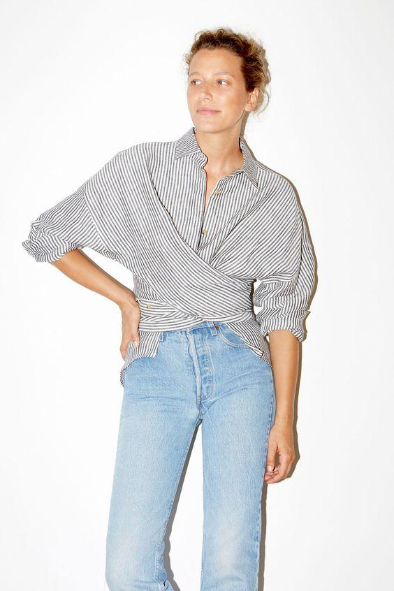 Datura studio stripe wrap shirt