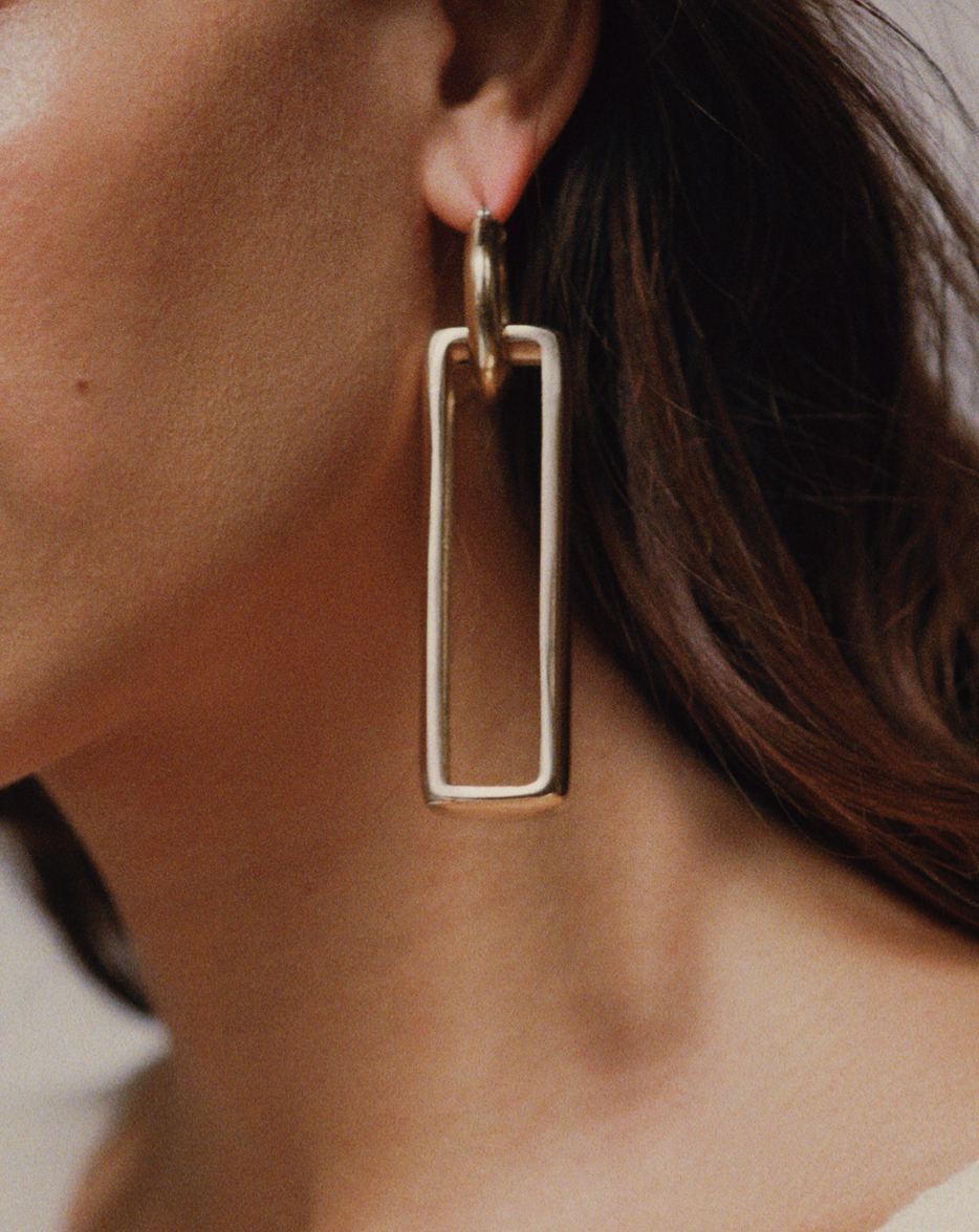 Laura Lombardi Gold rectangle earrings
