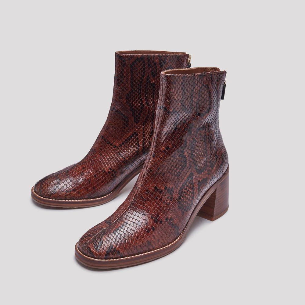 Miista brown snakeskin boots