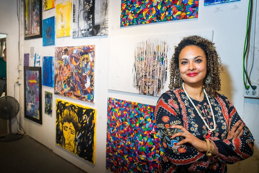 AVM Hawkins' Debut at Houston's 25th Annual Art Crawl at Mother Dog Studios; Photographer: Grady Carter, gradycarter@yahoo.com; Instagram: Gradycarterphotography.