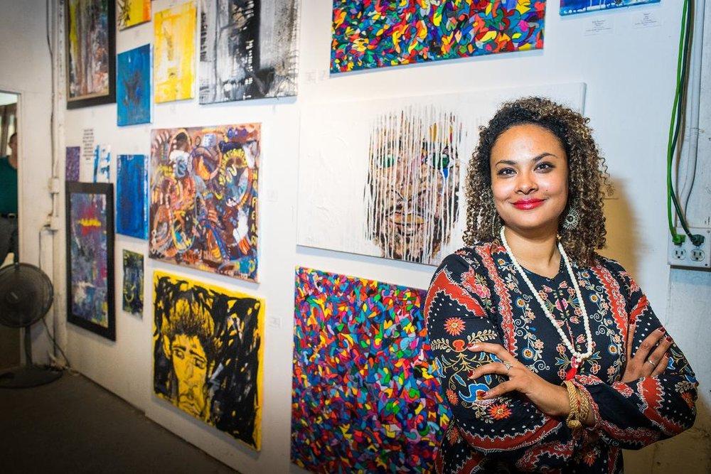 AVM Hawkins' Debut at Houston's 25th Annual Art Crawl at Mother Dog Studios; Photographer: Grady Carter, gradycarter@yahoo.com; Instagram: Gradycarterphotography.
