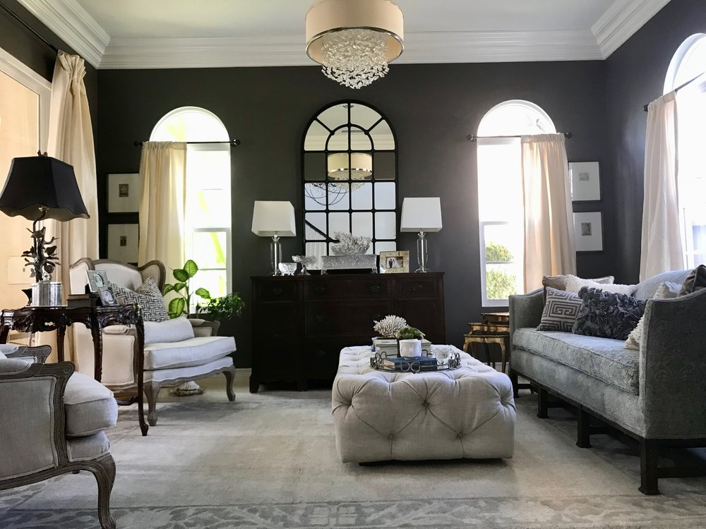 An elegant La Costa living room featuring Restoration Hardware Horchow a vintage reupholstered couch antique tables smokey walls and eclectic finds to ... & La Costa CA - Carlsbad CA - Elegant Living Room \u2014 JOLI G INTERIORS ...