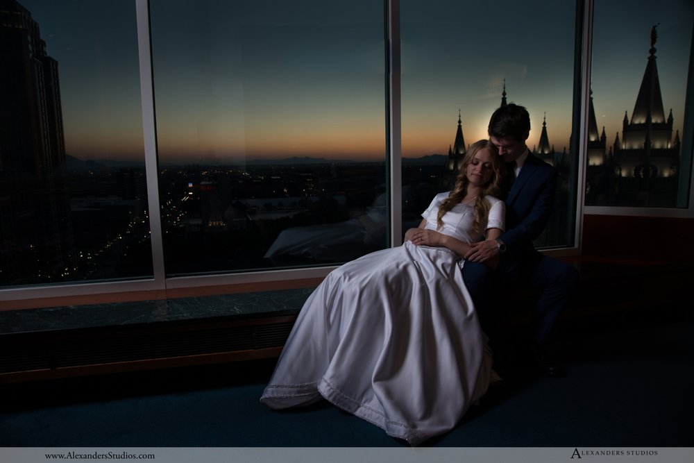 On the observation deck of the Joseph Smith Memorial Building overlooking the SLC Temple, Downtown Salt Lake City, UT.