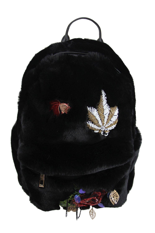 Black Fur bling Knapsack .JPG