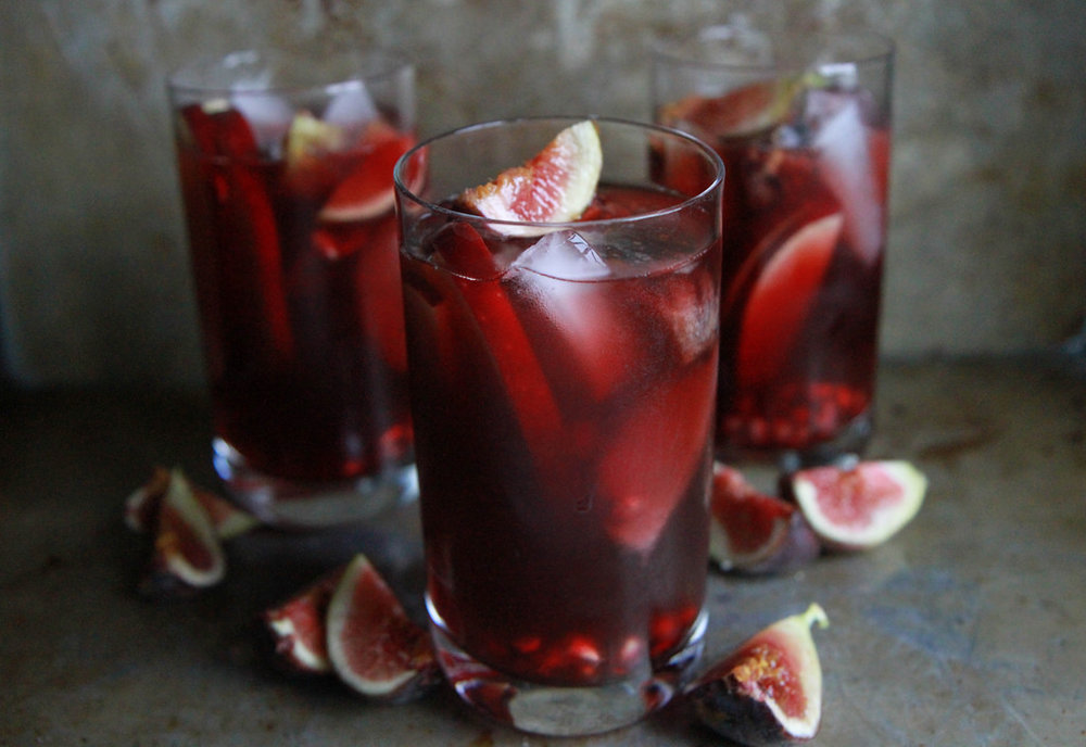 Autumn Sangria with Apples, Pomegranate and Figs by Heather Christo