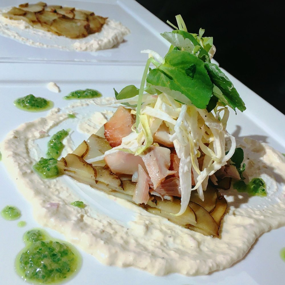 Smoked Trout, Endive & Potato Salad with Green Onion Oil and Horseradish Creme