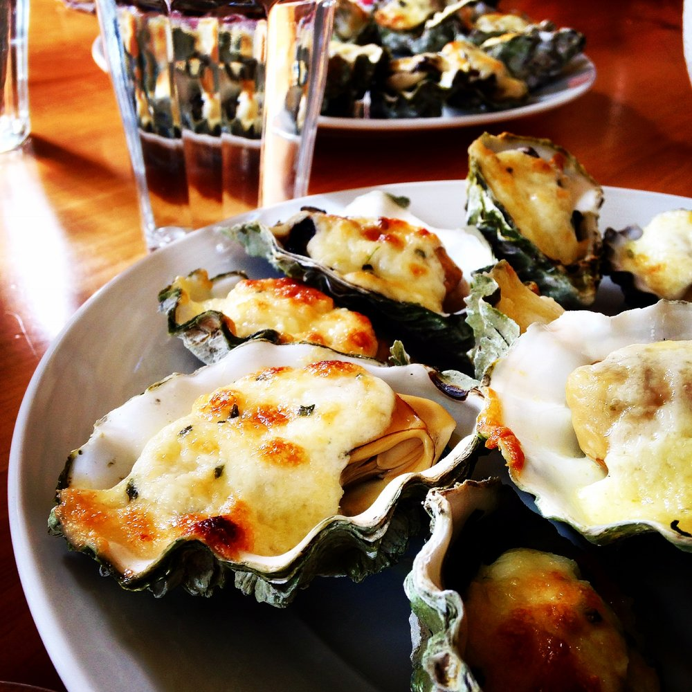 creamy Pecornio garlic broiled oysters Chef Vincent Nattress Orchard Kitchen .JPG