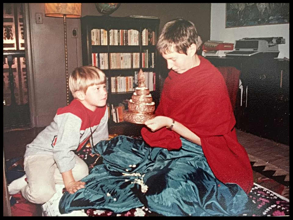 Me watching my Aunty Merry Colony make mandala offerings when I was a boy (she's amazing!).