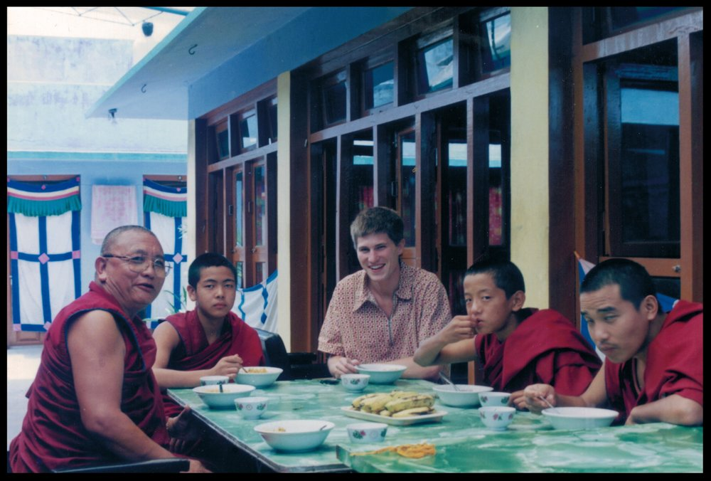 I lived and ate meals with this family of monks everyday for about two years. I am eternally grateful to Geshe Lothar (far left), nephew of  Sermey Khensur Lobsang Tharchin Rinpoche , who took me in and treated me with kindness, respect, and love (1998).