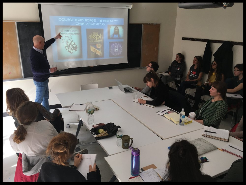 Guest lecturer  Robert Barnhart  discussing psychedelic research in my Buddhism & Cognitive Science class at the New School.