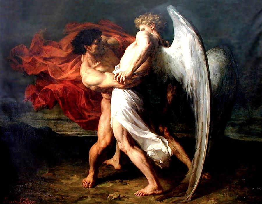 """""""Jacob Wrestling with the Angel"""" by Alexander Louis Leloir"""