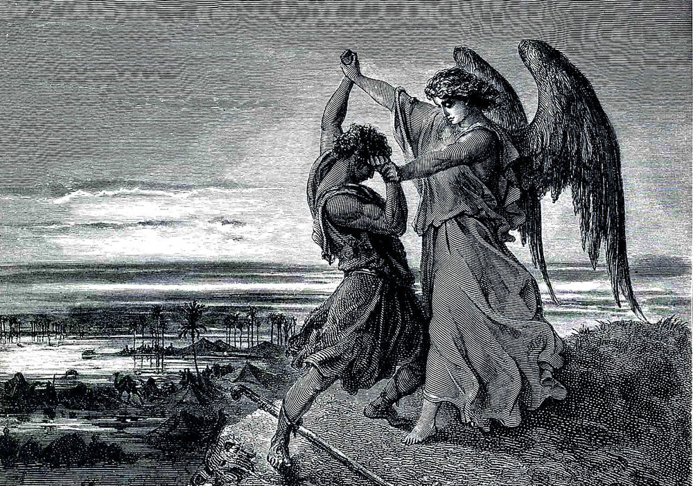 """Jacob Wrestling with the Angel"" by Gustave Dore"