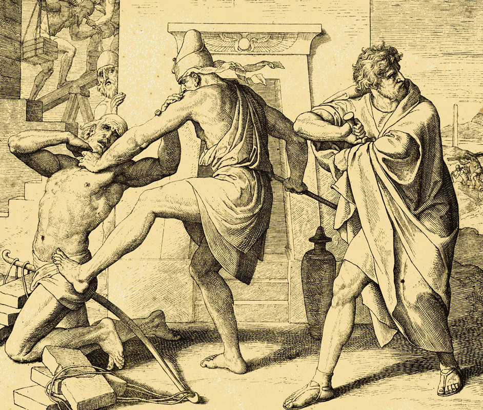 Moses killing the Egyptian.
