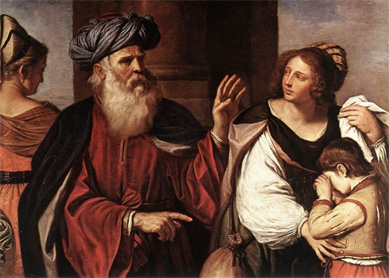 Abraham casting out Hagar and Ishmael.