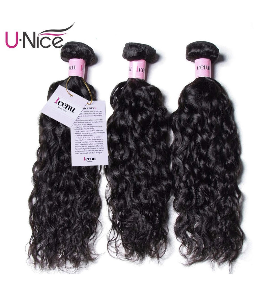 UNice Hair Icenu Series 8A Grade Brazilian Water Wave 3 Bundles 100% Unprocessed Virgin Human Hair Weave Extensions (22 24 26, Natural Color)