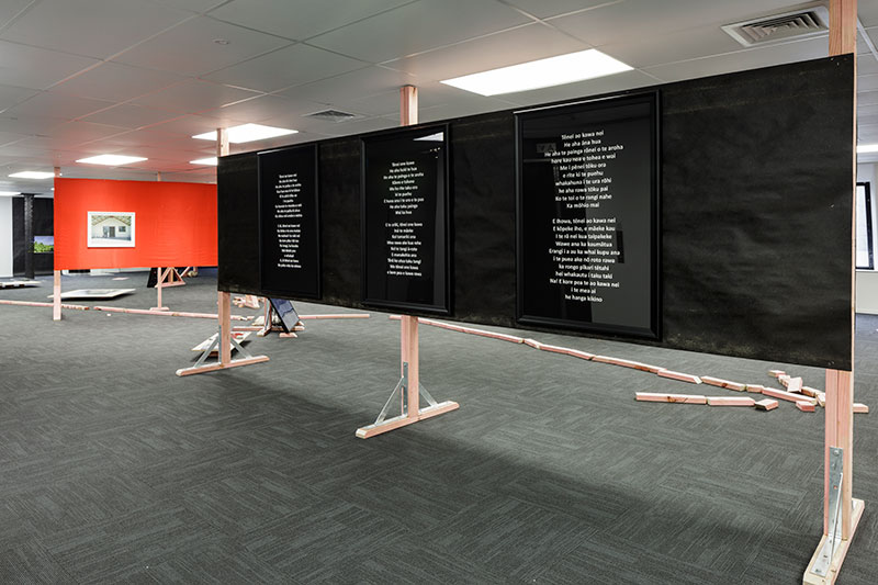Daniel Maier-Reimer's journey from Auckland to Christchurch, presented by Shannon Te Ao (Tēnei ao kawa nei, tēnei one kawa, tēnei ao kawa nei). Three archival pigment prints, framed., 2017. Photo: Sam Hartnett