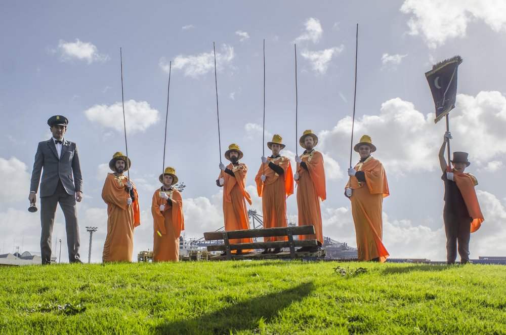 Matthew Cowan, The terminalia of funny-land , 2014 (performance still). Commissioned by Te Tuhi. photo by John Cowan