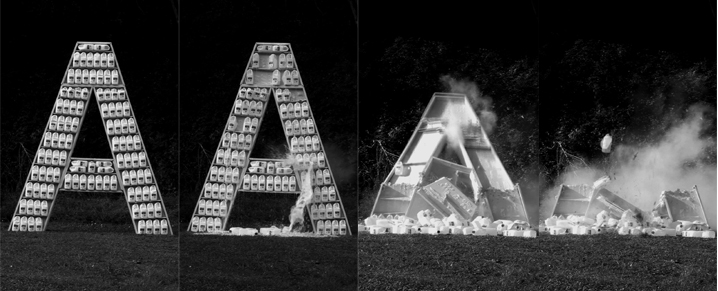 Santiago Sierra,  Destroyed Word , 2010–2012 (film stills showing the letter 'A', New Zealand, 2012). HD video, 24:08 mins, 200 litres of milk, 500 rounds of ammunition, plasterboard. Commissioned and produced by Te Tuhi.