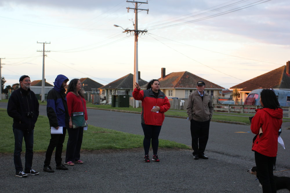 Darcell Apelu,  Generation Exchange (Patea) , 2016. A walking tour of Patea, 6:00-8:00 am, 24 September 2016. Commissioned by Te Tuhi, Auckland. Photo by Bruce E. Phillips.
