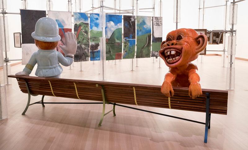 Michael Parekowhai, Détour, 2018, installation view; Michael Parekowhai, Constable Plum Bob , 2018,and  Hoodwinked ,2018,fibreglass, automotive paint,with Colin McCahon, Northland Panels ,1958. Photo: Maarten Holl