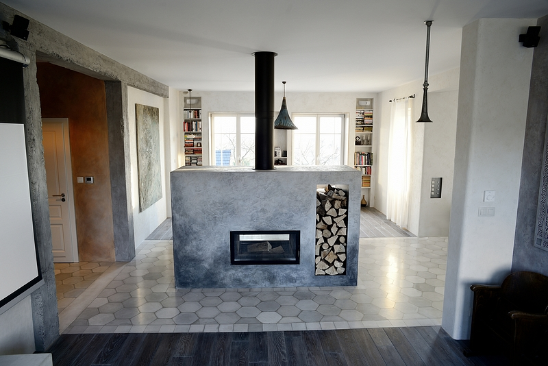 One of our projects: Krakow, Poland 2013, Concrete floor tiles, concrete fireplace.