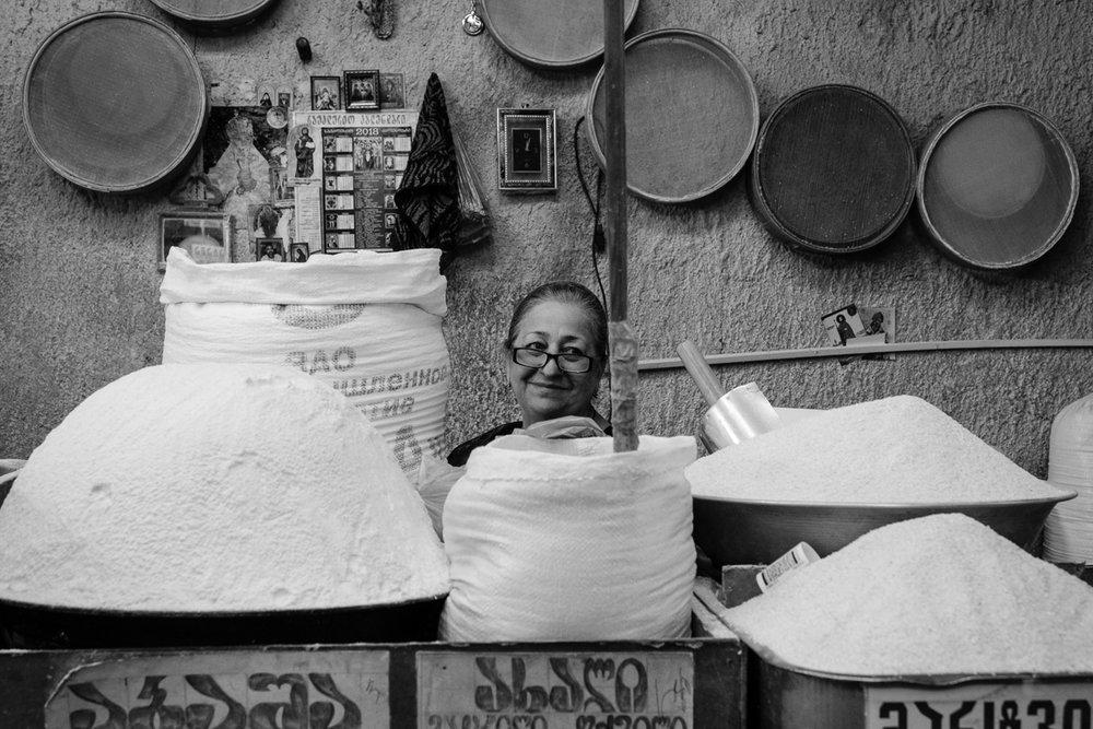 Corn flour merchant, Dezerters' Bazaar, Tbilisi
