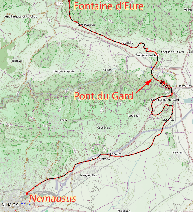 Relief map of the route of l'aqueduc de Nîmes showing the detour required to circumnavigate les garrigues de Nîmes