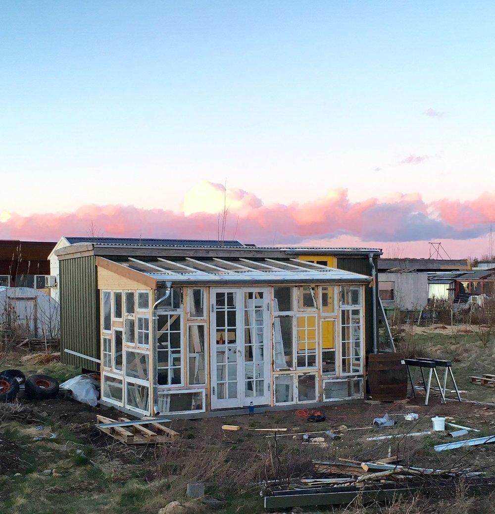 Sånn så den ut i våres, da vi hadde fått de to første veggene ferdige og lagt taket - for første gang...