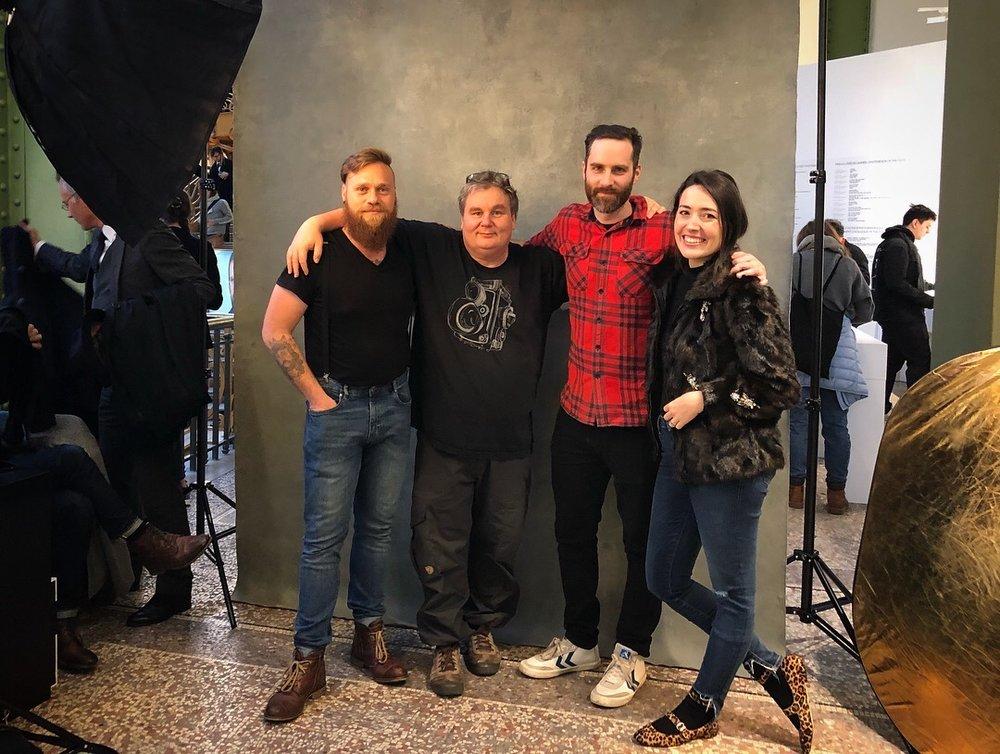 The White Rabbit Team: Lee-Roy Bender, Jan Schlegel, Uli Mannchen and Liz Mannchen at the Leica booth during Photo Paris 2017.