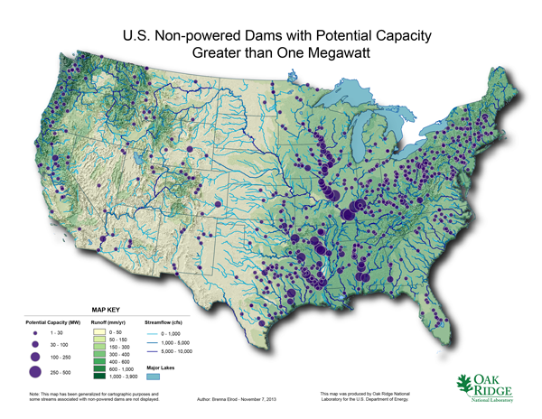Geographical viability of Hydropower in the US / Oak Ridge National Laboratory (Click for Link)
