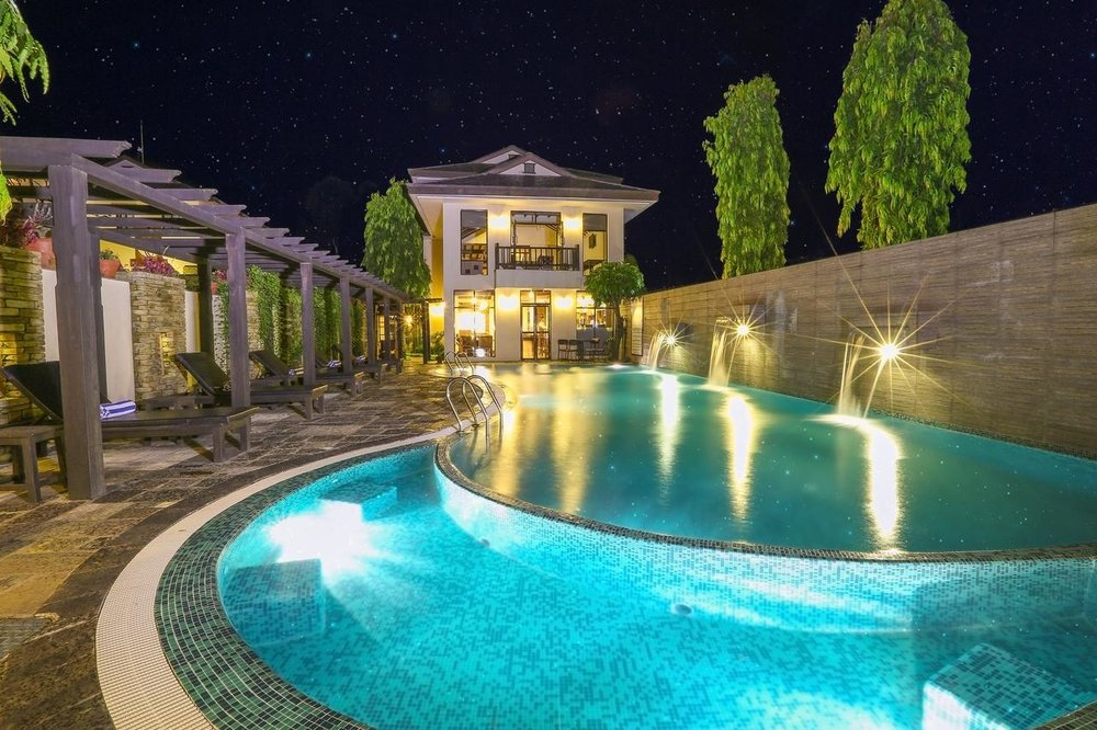 Take a dip in the pool and spa
