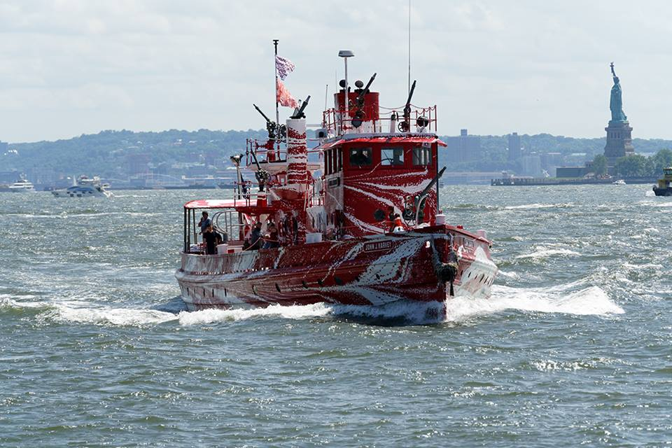 The John J Harvey has been dazzled! This summer, multidisciplanary artist Tauba Auerbach, evoking the DAZZLE camaflouge patterns painted on WWI and WWII vessels to confuse enemy U-boats, has unveiled New York's own 21st-century dazzle ship;  John J. Harvey.
