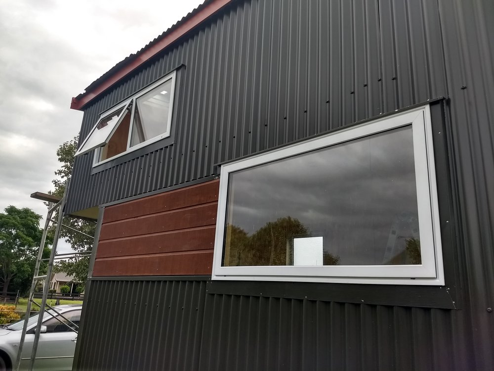 Flashings around the change in cladding.