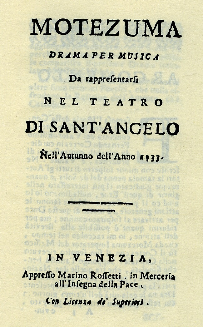 Title page of the libretto for Vivaldi's opera  Motezuma , printed for the premiere in Venice (1733)