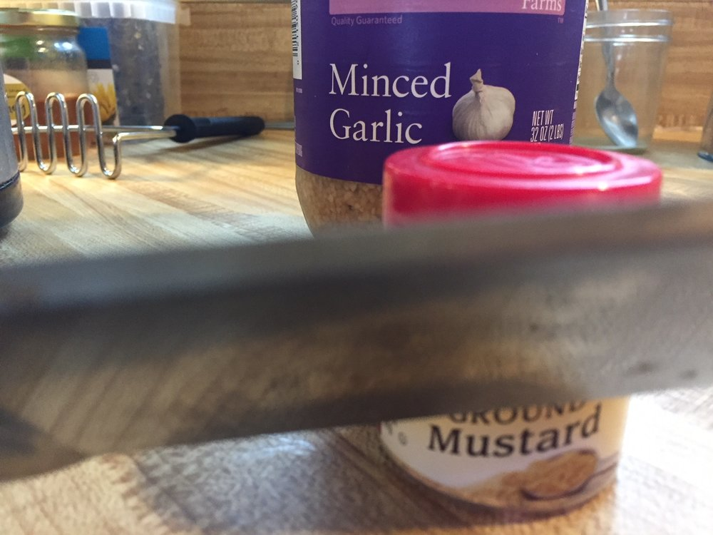 As much garlic as you like. Mustard: ground, whole, or prepared, as much as you like.