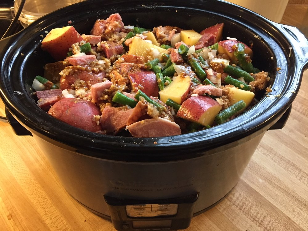 Mix it all up in a crock pot. Adjust the amount of potatoes and green beans for the size of the pot.