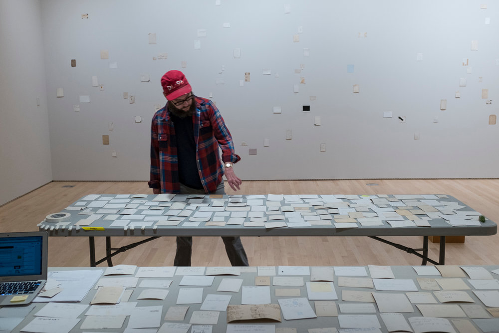 Jason Lazarus at work on the commissioned installation  Recordings #3 (At Sea)  at SFMOMA, 2016; photo: © Henrik Kam