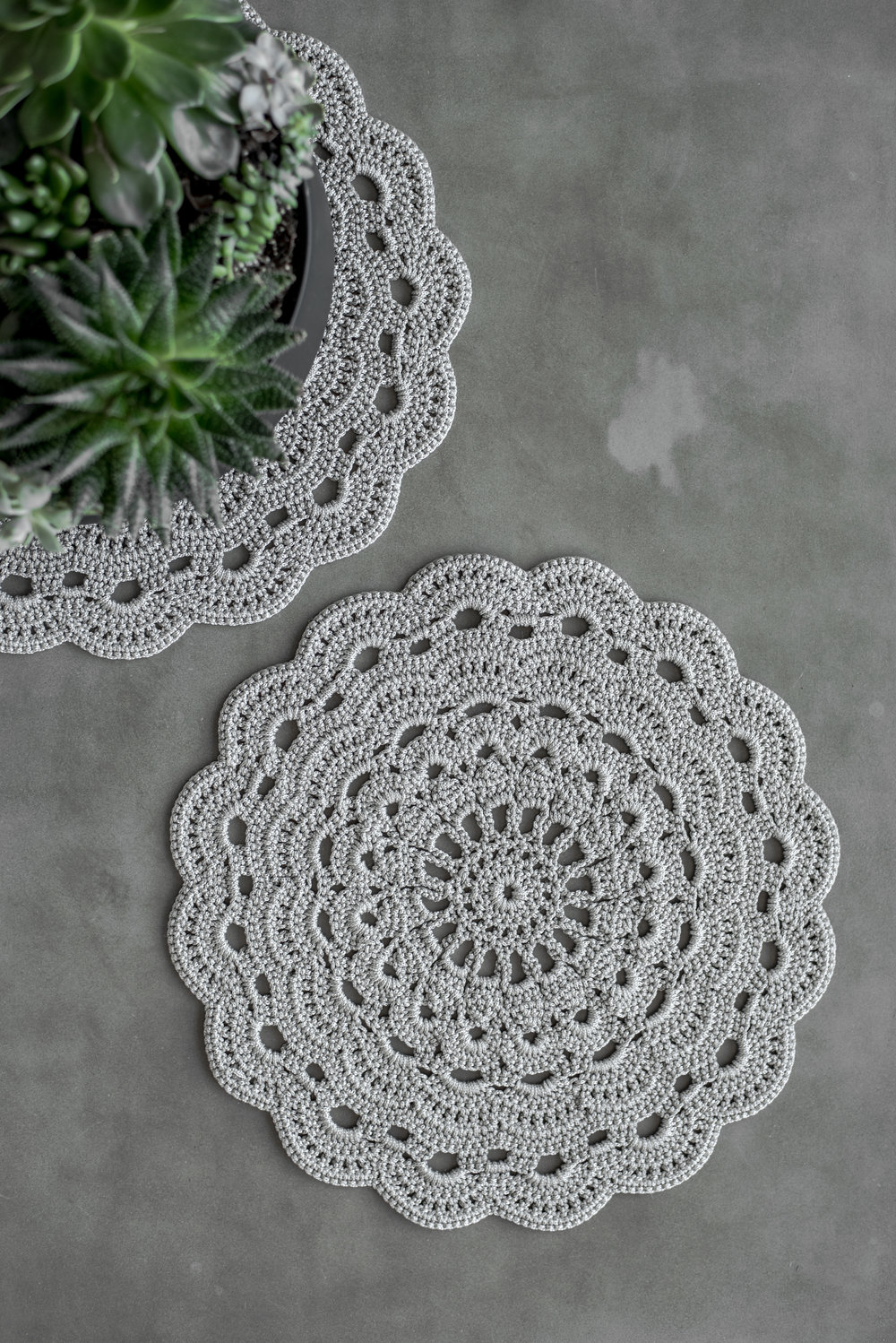 Hand Crochet Placemats In Silver Creating Comfort Lab