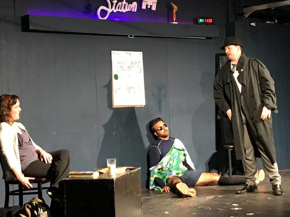 Conor Farrell, Nippun Kakkar, and Cassie Randall in  Don't Die Over Spilt Milk