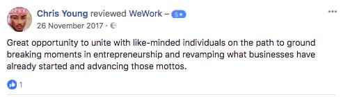 出典:https://www.facebook.com/WeWork/reviews/