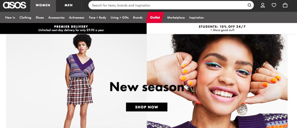 出典:イギリス人気ファッションEコマースのオンラインサイト、エーソス( Asos )。