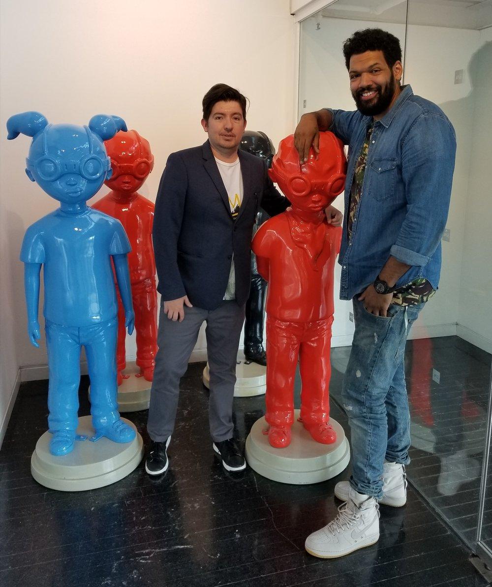 WDCB's Gary Zidek with artist Hebru Brantley at the Elmhurst Art Museum