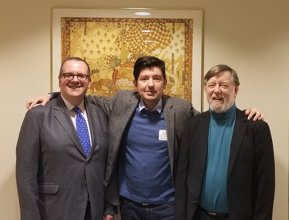 Lyric Opera general director Anthony Freud, WDCB's Gary Zidek & Lyric music director Sir Andrew Davis
