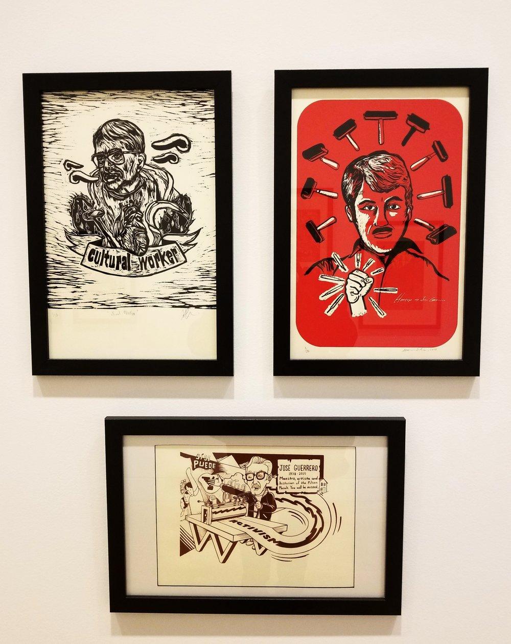 CULTURAL WORKER, 2016 Antonio Pazaran,UNTITLED, 2016 Diana Solis & (bottom) MAESTRO GUERRERO, 2016 Eric Garcia